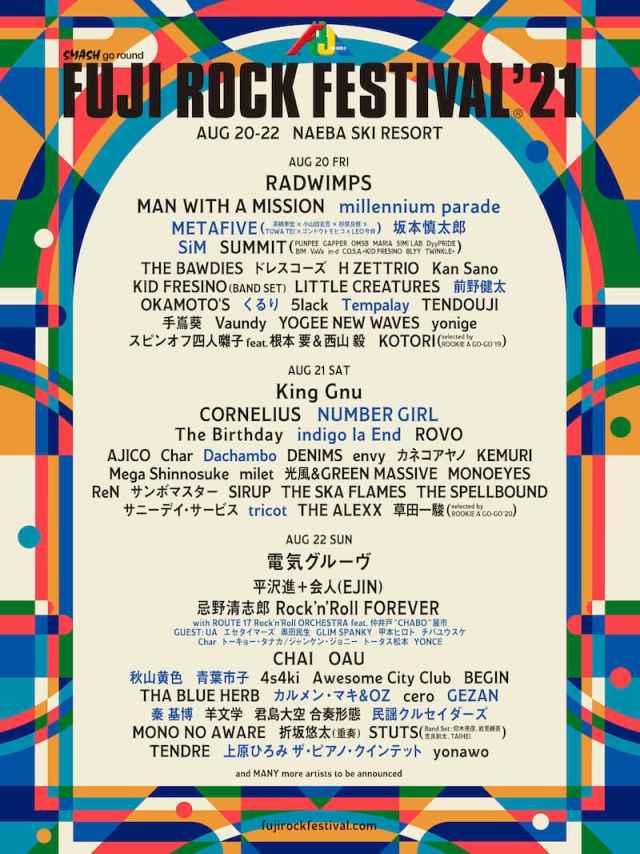 【FUJI ROCK FESTIVAL'21】フジロック第2弾発表でmillennium parade、坂本慎太郎、Tempalayら追加