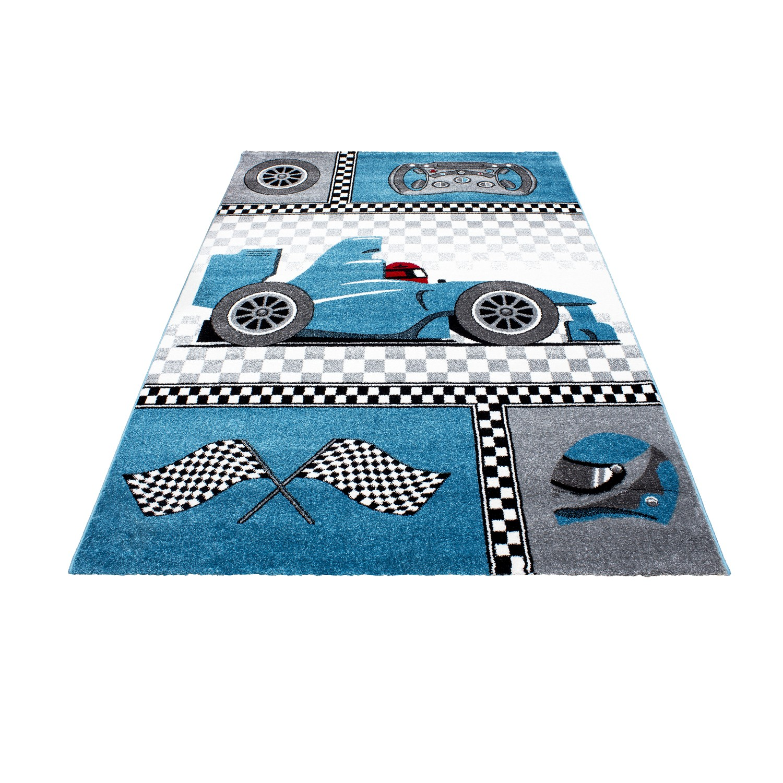 tapis pour chambre de garcon blue et gris speed