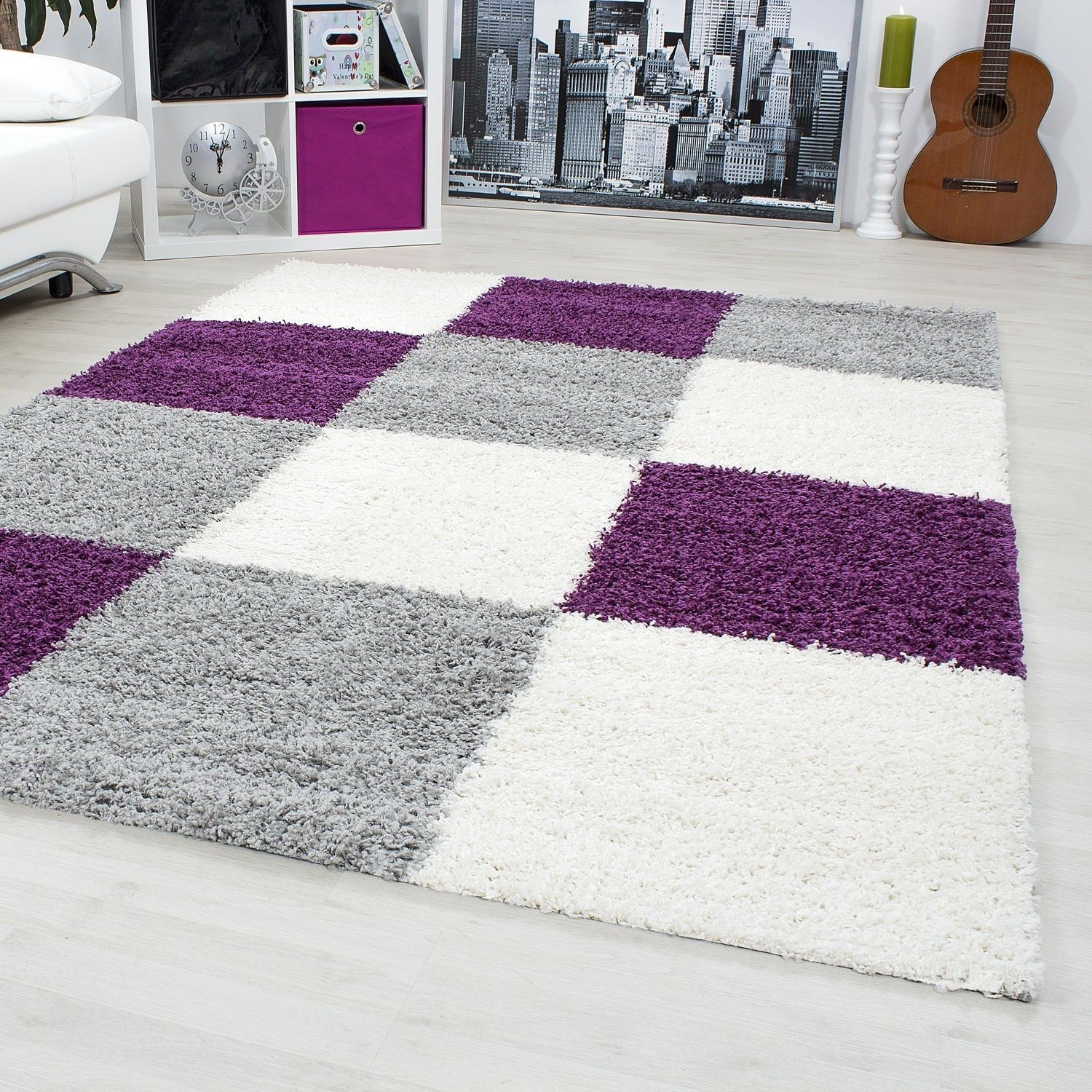 tapis shaggy longues meches violette gris cream hautes carreaux vasco