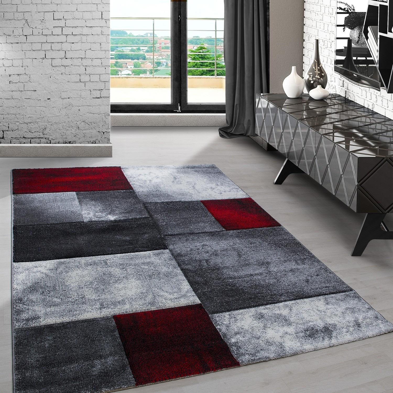 tapis frisee effet 3d design moderne rouge noir harlequin