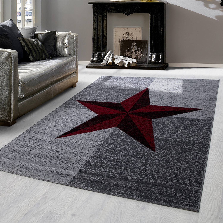 tapis contemporain gris et rouge en polypropylene markus