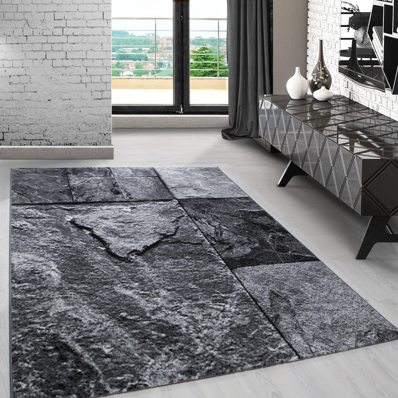 tapis design salon chambre salle a manger argente a courtes meches markus