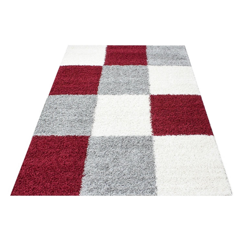 https www festivaltapis com tapis longue meches pas cher design tapis shaggy longues meches rouge gris cream hautes carreaux vasco 436 html