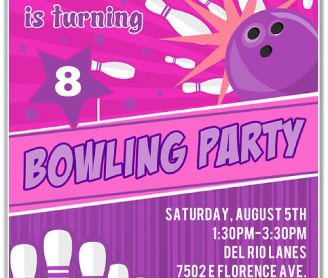 Bowling Birthday Party Invitations Girl Bowling Sports Kids Birthday