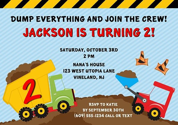 construction truck birthday party invitations construction kids birthday