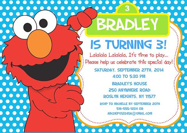 elmo birthday party invitations sesame street kids birthday
