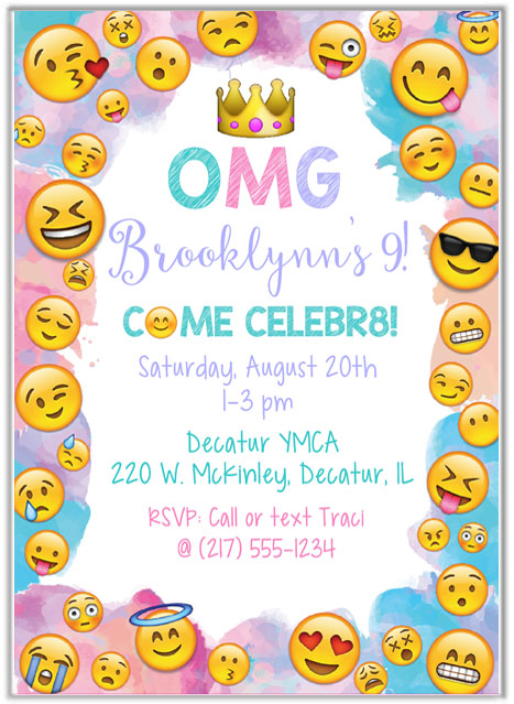 emoji birthday party invitations kids birthday