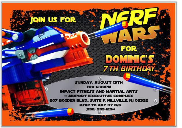 nerf birthday party invitations kids birthday