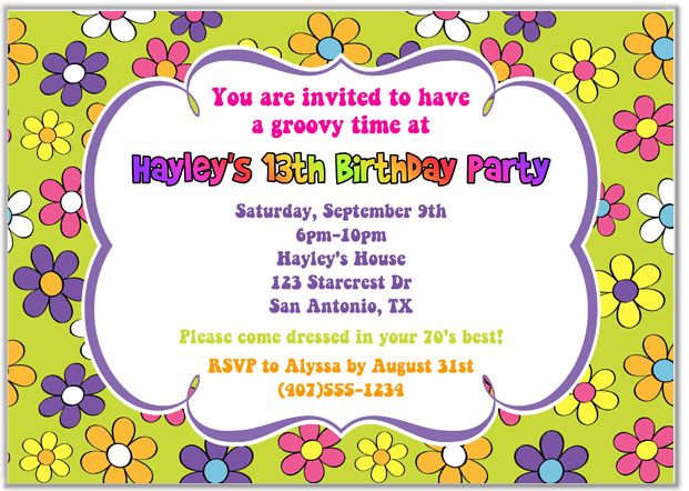Retro Flower Power 70s Birthday Party Invitations Adult