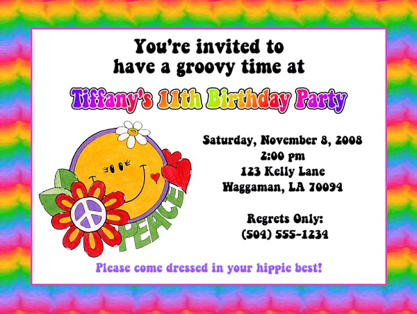 Groovy Retro Hippie Flower Power 60s 70s Party Invitations