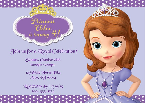 sofia the first birthday party invitations  invitations cards ideas, Party invitations