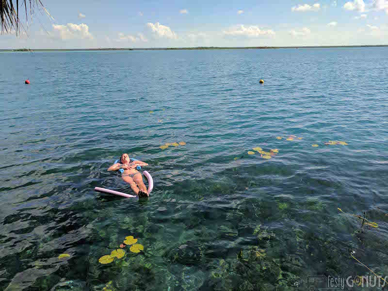Relaxing in the Lake at Bacalar
