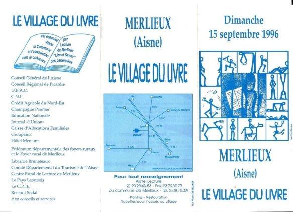 Programme Fête du Livre de Merlieux - 1996