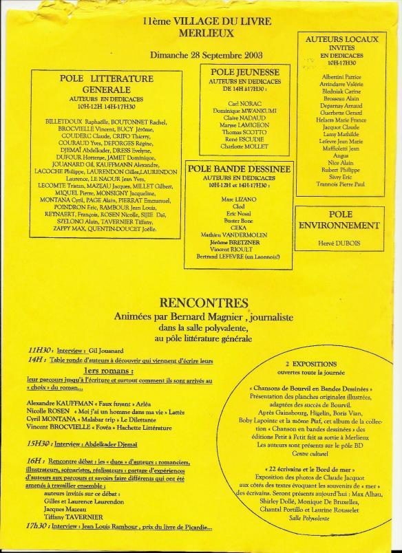 Programme Fête du Livre de Merlieux - 2003