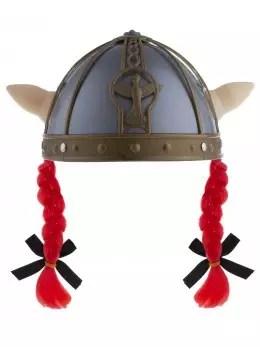 Il est devenu emblématique du viking. Casque Viking Avec Tresses Orange Accessoire Deguisement Fete En Folie