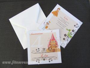 Carte Invitation Princesse & Chevalier - Fêtes vous même