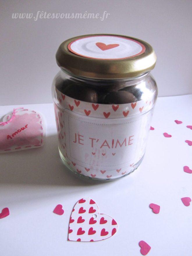 Bocal à chocolats Saint Valentin - Bonbonnière valentine - Fêtes vous même