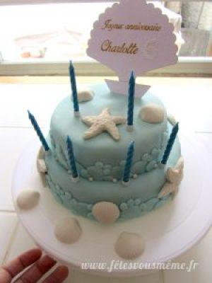 Gâteau anniversaire marin bougies - Fêtes vous même
