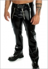Latex-sailor-front-Jeans-low-waist-metal-zips