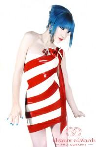 Red & White Candy-Stripe Asymmetric Mini Dress