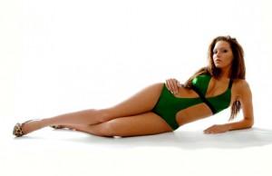 Latex monokini style swimsuit body
