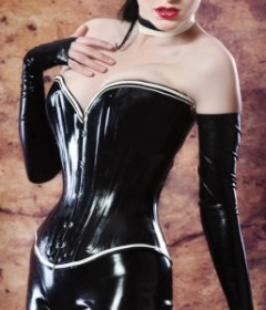 BLACK LATEX CORSET WITH WHITE TRIM