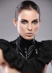 Black PVC and Taffeta Neck Corset