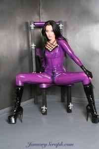 Transparent purple latex catsuit