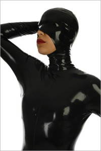Latex mask with open chin