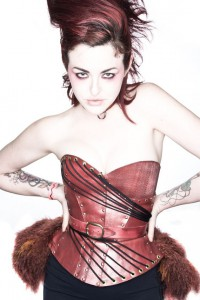 Circe Leather Corset with feather bustle