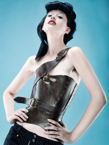 Gula Asymmetrical Over Bust Leather Corset