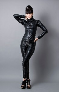 Black Faux Leather Jacket and Pants 1