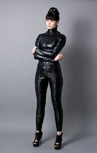 Black Faux Leather Jacket and Pants 2