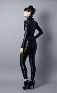 Black Faux Leather Jacket and Pants 3