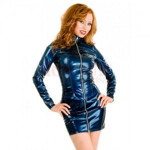 PVC Fitted Zip Jacket - Blue