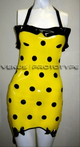 SUMMER SPECIAL Polka dot print latex dress with bow detail by Venus Prototype