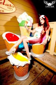 Latex Rubber Ice Cream Cone Applique Dress