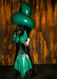 martian queen latex inflatable alien dress 2