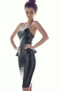 embossed latex pencil dress