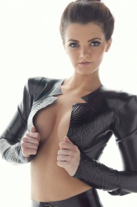 latex jacket with padded shoulder