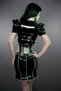 Glowing trim PVC Underbust corset
