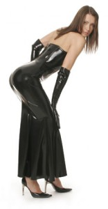 Latex corset dress with godet