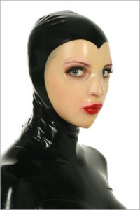 Lightweight latex mask, contrast coloured face