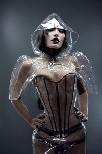 Clear PVC Overbust Corset with painted boning