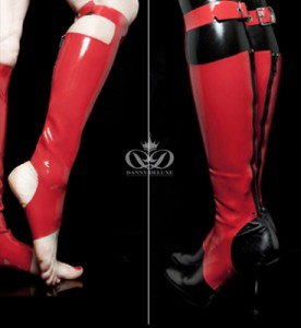 LATEX GAITERS WITH BUCKLE