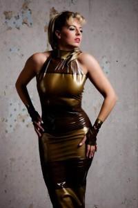 Latex Panelled Wiggle dress