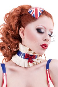 Britannia Latex Collar and Union Jack Latex Fascinator