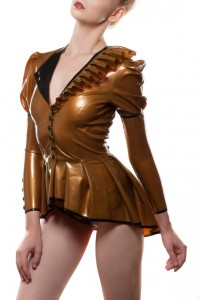 Asymmetrical Pleated Latex Tailcoat
