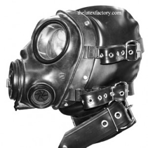 LATEX BONDAGE GAS MASK HOOD