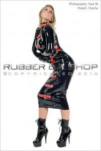 Buckled Rubber Bondage Dress With Mitts 2